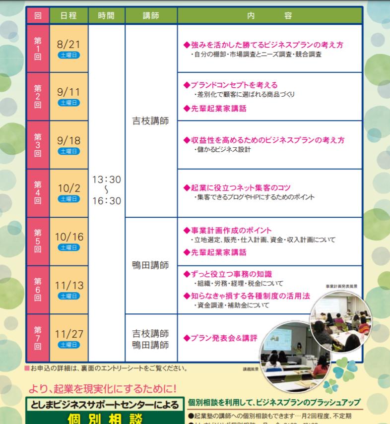 豊島区女性起業塾カリキュラム